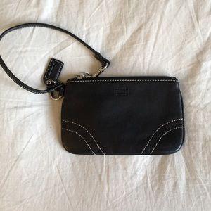 LN Black Leather Coach Wristlet